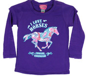 Cowgirl Hardware I Love Horses L/S Tee , Grape  - 815224-190