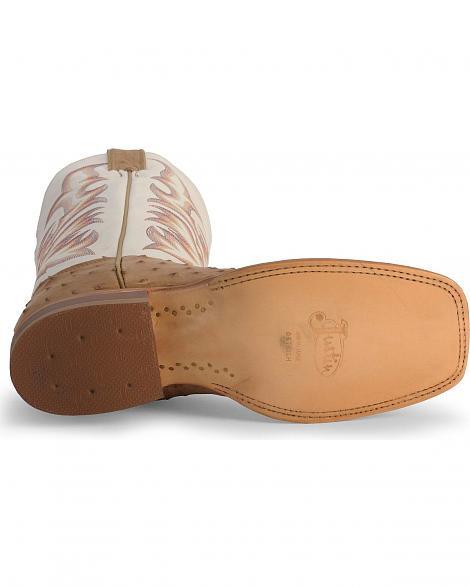4aa9df0735e Justin Men's AQHA Full Quill Ostrich Cowboy Boots - Square Toe - 8572