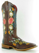 Macie Bean Ladies Embroidered Collection Western Boot Double Stitch Square Toe  - M9031