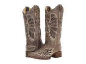 Corral Ladies Distressed Brown w/Winged Cross Black Sequin Inlay Square Toe Western Boot - A1197