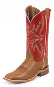 Men's Bent Rail Western Boot with Brandy Burnished Calf Foot and a Double Stitched Wide Square Toe - BR300