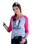 Cruel Girl Western Shirt Women 3/4 Sleeve Loose Raglan Gray  - CTK9787001