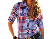 Cruel Girl Western Shirt Womens L/S Plaid Snap - CTW9351002
