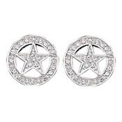 Clear Rhinestone Studded Star Earrings  - ER810CZ