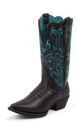"Ladies Justin 12"" Black/Turquise Boot - l2564"