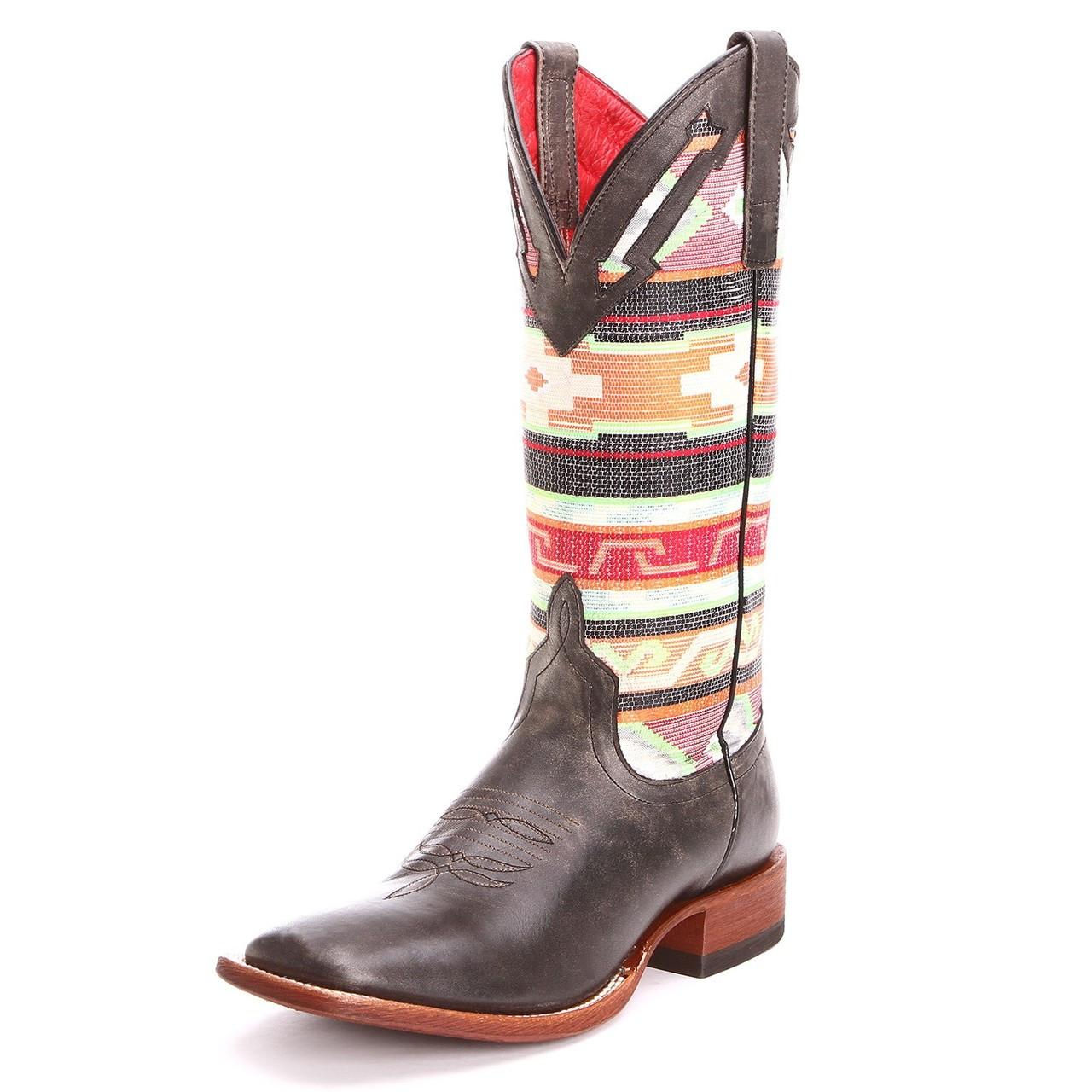 86194f83cd3 Macie Bean Womens Cracktacular Serape Square Toe Cowboy Boots Black - M-9081