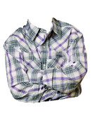 CINCH Western Shirt Boy Kid L/S Plaid Snap Cream Gray - MTW7020041