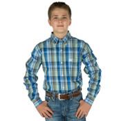 Cinch Boy's Blue Plaid Long Sleeve Shirt  - MTW7060114