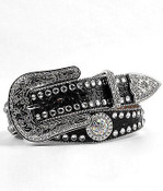 Women's Scallop Rhinestone Western Black Belt  - N3512001