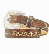 Nocona Girl's Brown Fleur De Lis Belt - n4423102