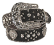 Nocona Girls's Black Heart Concho and Rhinestone Belt - N4425201