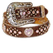 M&F Western Girls Gator-print Brown Belt with Heart Concho and Rhinestones - N4425202
