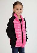 Roper Girl's Pink/Black Parachute Jacket - 0329806930604
