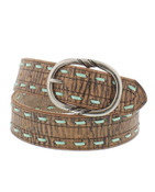 Gem Dandy Ladies Distressed Buffalo Belt with Turquoise Lacing - 9619300
