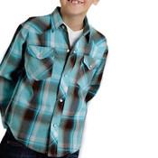 ROPER BOY'S BLUE PLAID SNAP SHIRT - 0103001010268