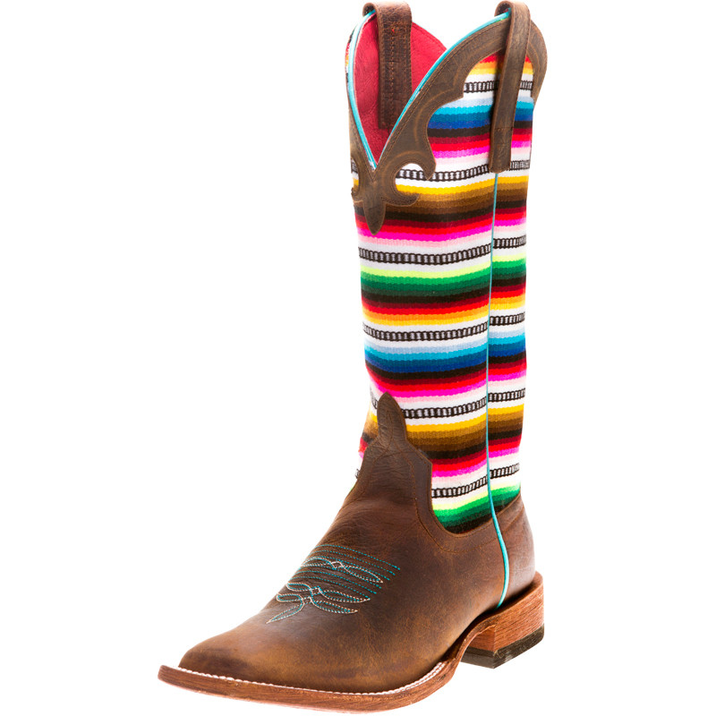 95104225790 Macie Bean Women's Lefty's Pancho Square Toe Cowgirl Boots Brown - M9078