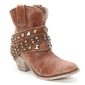 Women's Corral Cognac Studded Stap Shortie Cowgirl Boots - P5042