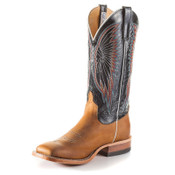 Anderson Bean Cowboy Boots - Vamp Rust Burnished Crazyhorse - Essex Blue Kidskin Leather - S3007