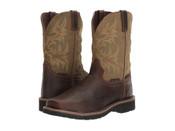 Justin Work Boots Mens Steel Toe WP Met Guard Brown Green - WK4570