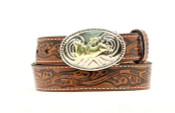 Nocona Youth Floral Brown Leather Belt with Belt Buckle  - n4410402