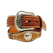 NOCONA WESTERN SCALLOPED NATURAL BOY'S BELT - N4436448