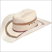 M&F WESTERN ARIAT MENS TWO TONE BANGORA STRAW COWBOY HATS NATURAL- A73124