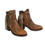 CORRAL BROWN FRINGES ANKLE BOOT - E1215
