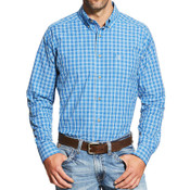 Ariat Pro Series Men's Blue and White Plaid L/S Western Shirt - 10019704