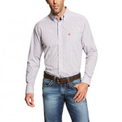 Ariat Pro Series Men's White, Red, and Navy Plaid L/S Western Shirt - 10019677
