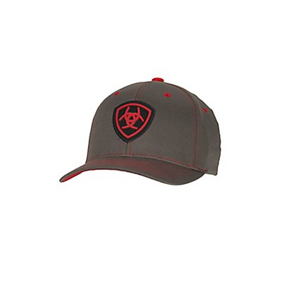 Ariat Grey with Red Logos Flex Fit Cap - 1512406 - Leon River Mercantile 03a7af348040