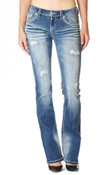 Grace in L.A.® Ladies' Wave Stitched Distressed Jeans - EB51126