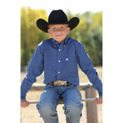 Cinch Boy's Square Print Western Shirt - Royal Blue - MTW7060162