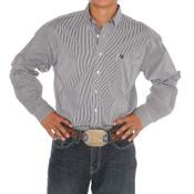 Men's Cinch Purple/White Stripe Long Sleeve Buttondown Shirt - MTW1104516