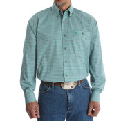 Men's Wrangler George Strait Blue/Green Print Long Sleeve Buttondown Shirt - MGSG397