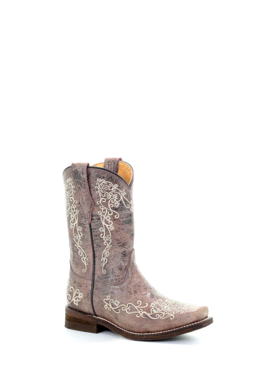 be1ebc53d27 CORRAL KID'S COWBOY SQUARE TOE LEATHER WESTERN BOOTS BROWN- E1315