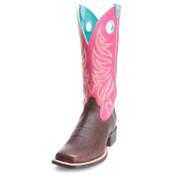 Ariat Ladies Round Up Ryder Yukon Chocolate & Magenta Boots - 10023159