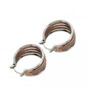 Two Tone Rope Hoop Earrings - er3830rg