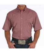 Cinch ArenaFlex Men's Red Check Short Sleeve Button Shirt