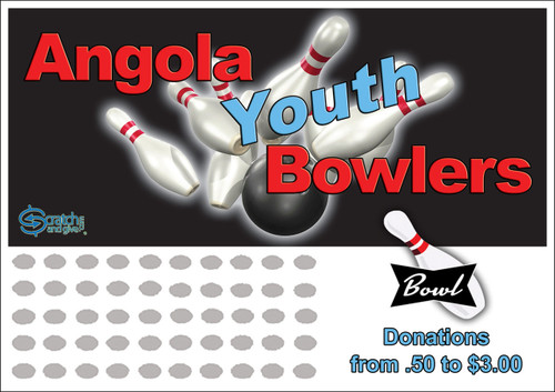 Bowling Scratch off Fundraiser Card will raise $100-$10,000.  Scratch off Card, Scratch off Fundraiser, Fundraising, School, Sports, Bowling.