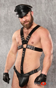 Brawny Dual Snap Leather Harness BLACK - RTG