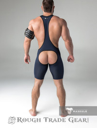 Fetish Wrestling Singlet w/Cod Piece OPEN BACK Navy/Blk - Maskulo