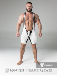 Fetish Wrestling Singlet w/Cod Piece CLOSED BACK White/Blk - Maskulo