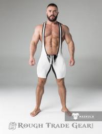 Fetish Wrestling Singlet w/Cod Piece CLOSED BACK White/Blk - Maskulo