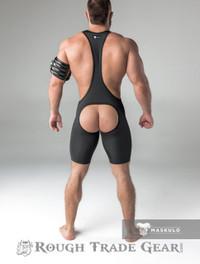Fetish Wrestling Singlet w/Cod Piece OPEN BACK Blk/Blk - Maskulo