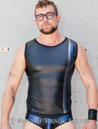 Metallic Fetish Sleeveless Shirt BLUE - Rough Trade Gear