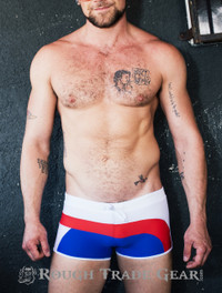 Poolside Swim Trunk (Red/White/Blue) - Rough Trade Gear