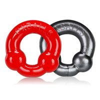 Ultraballs Cockring 2 pack (steel & red) - Oxballs