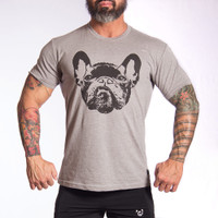 Dog Face 2 Crew HEATHER GREY T-Shirt - Bullywear