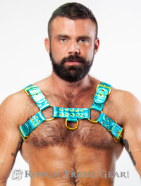 Bulldog Leather PRISM Harness (Aqua) - RTG