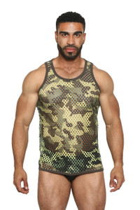Greek Fishnet Tank (large holes) GREEN CAMO - Black Unicorn